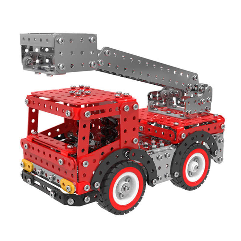 580pcs Stainless Steel 3D Puzzle Ladder Fire Truck Assembly Toy DIY Metal Car Model Building Kits Adults Toys Creative Gift