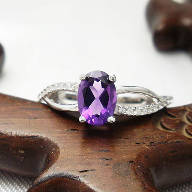 2015 new ring!!! Trendy ring for party 925 silver amethyst ring for woman wholesale price free beautiful jewelry box