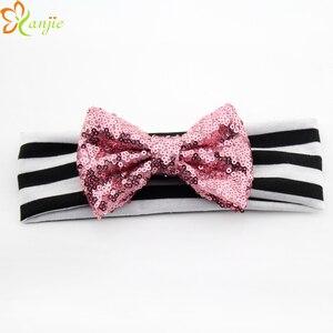 Image 2 - 10 Stks/partij Chic Europese Valentijn 4 Glitter Sequin Bow Gestreepte Elastische Hoofdband Hot Koop Headwrap Voor Kinderen Haar accessoires