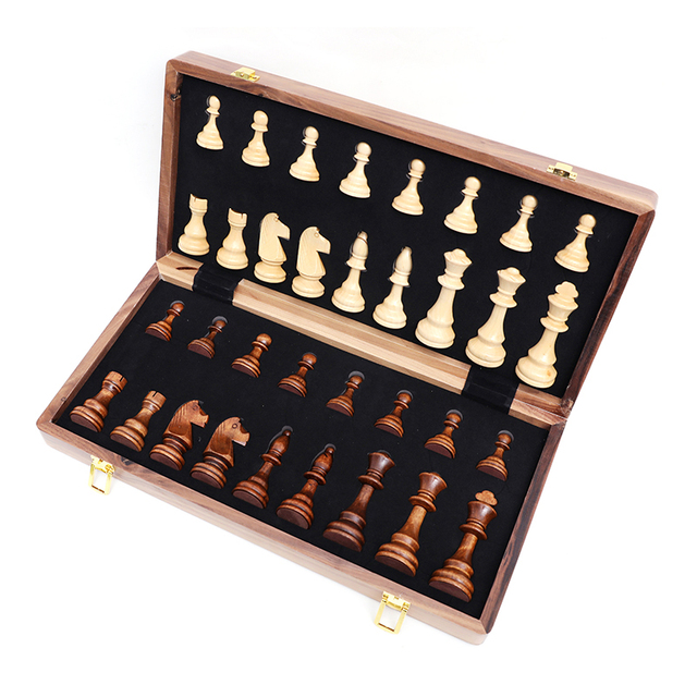 Jeu d'échecs pliant en bois de noyer, de qualité supérieure, produit manuel, pièces en bois massif pour enfants, divertissement, cadeau, jeu de société 6