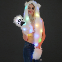 Faux Fur LED Light Up Hood Animal Wolf Hat Warm Plush Cap with Scarf Gloves for Women Girl Halloween Christmas Party Novelty Hat