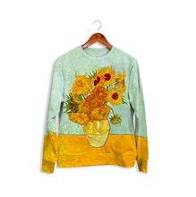 f0c53b28f3c Unisex Camisola Cheia Girassóis de Van Gogh Impresso Camisola Hip Hop  Moletom Com Capuz Estilo de