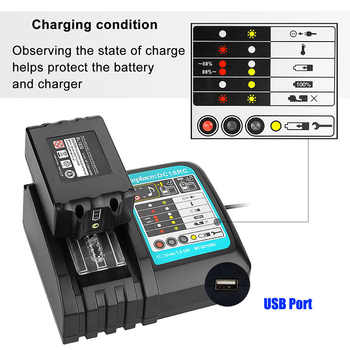 NEW DC18RCT Li-ion Battery Charger 3A Charging Current for Makita 14.4V 18V BL1830 Bl1430 DC18RC DC18RA Power tool + USB port