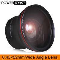 52MM 0.43x lente gran angular profesional HD (con parte Macro) para cámaras DSLR Nikon D7000 D7100 D5500 D5300 D5200 D5100 D3300