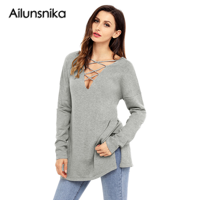 114f0ecb08f Ailunsnika Losse Casual Grey Crisscross V Neck Lightweight Long Sleeve  Sweater for Women Autumn Winter Fashion Pullover Tops