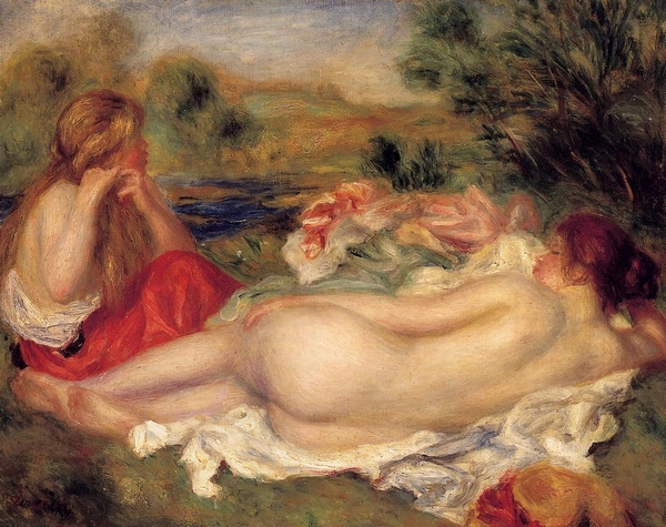 Living <font><b>room</b></font> wall decor <font><b>nude</b></font> woman oil painting <font><b>Two</b></font> Bathers by Pierre-Auguste Renoir canvas painting for friends No Frame