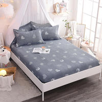 100% Cotton 1Pcs Fitted Sheet Deep 25cm Mattress Cover Printing Bedding Linens Bed Sheets With Elastic Band sheet Free Shipping