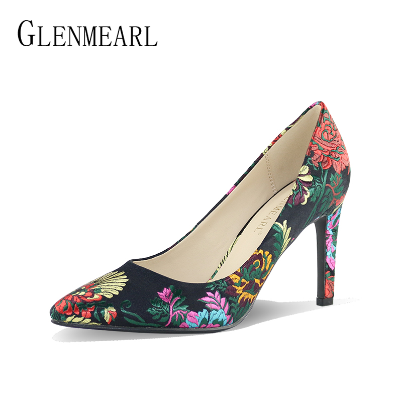 Brand Women Pumps High Heels Shoes Embroider Sexy Pointed Toe Dress Shoes Woman Thin Heel Single Wedding Shoes Bride Pumps DO white lace embroider women shoes slip on high heels glaze surface metal thin heel pumps female wedding dress shoes pointed toe