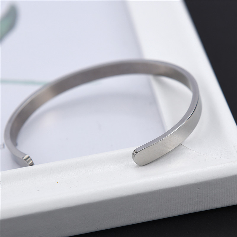 Modyle Silver Color Titanium Stainless Steel Open Cuff Bangles Bracelet for Men Women Fashion Jewelry