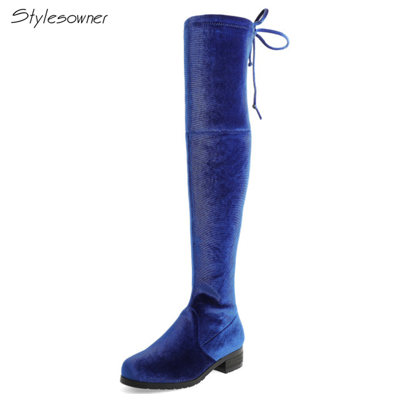 все цены на Stylesowner Chic New Women Elastic Velvet Heels Boots Elastic Lace Up Over The Knee Boots Lady Casual Casual Boots Sexy HeelShoe