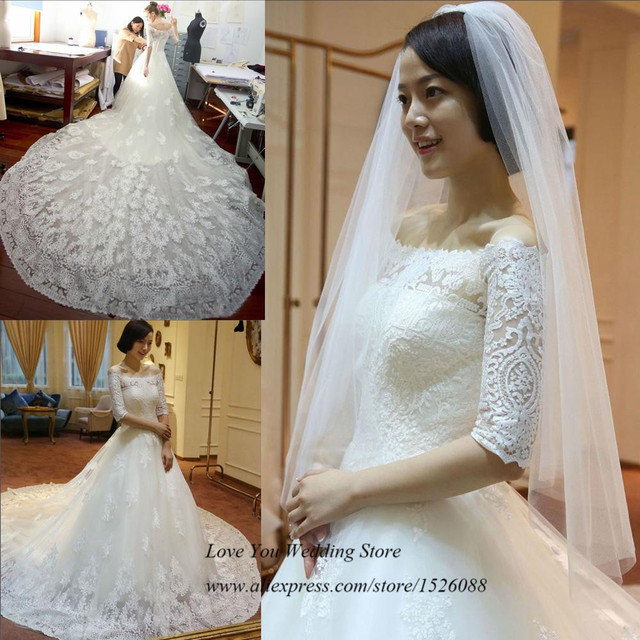 Modest White Lace Vintage Wedding Dress Long Train Half Sleeve ...
