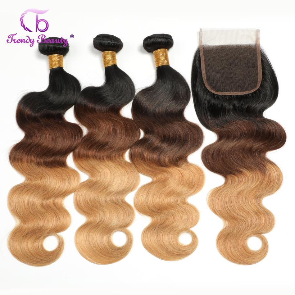 Trendy Beauty Hair 3 Bundles Ombre Brazilian Body Wave Human Hair Bundles With Closure 1b 4