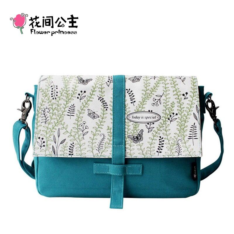 Цветок принцесса Для женщин Crossbody сумка Холст школьные ранцы сумки Дамская мода сумка Bolsa BOLSOS bordados