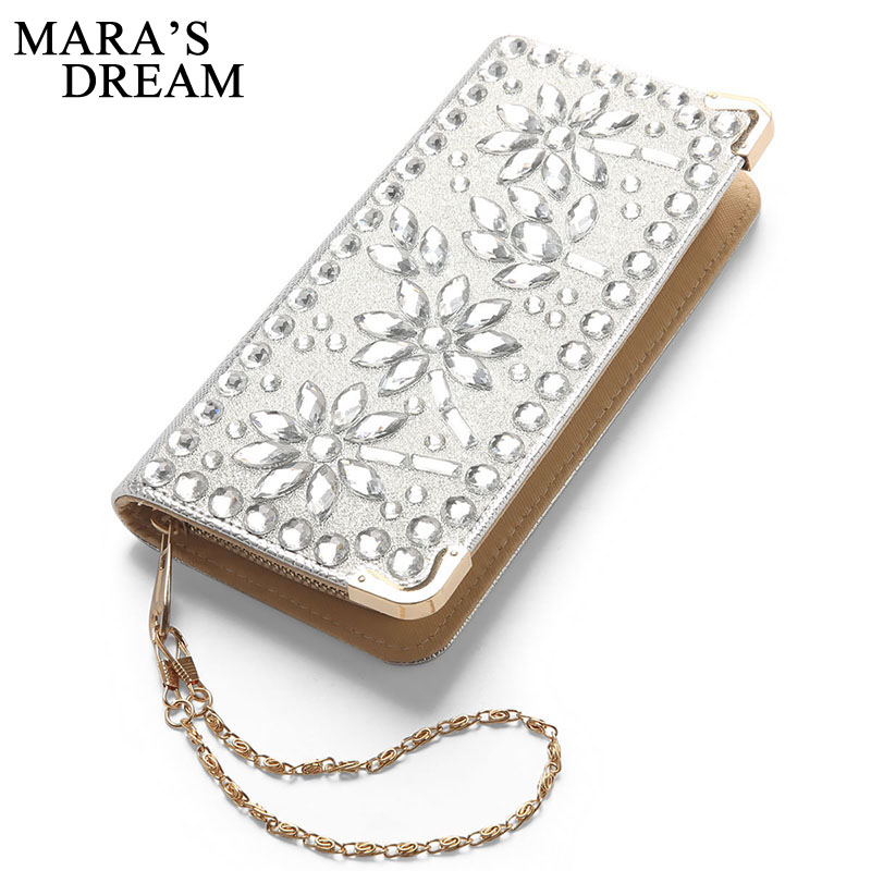 Mara's Dream Wallet For Women Ladies Zipper Wallets Purse Diamond Evening Clutch Wristlet Card Holder Coin Bag Female Money Bag гель лак для ногтей sally hansen miracle gel 230 цвет 230 all chalked up variant hex name cebac9