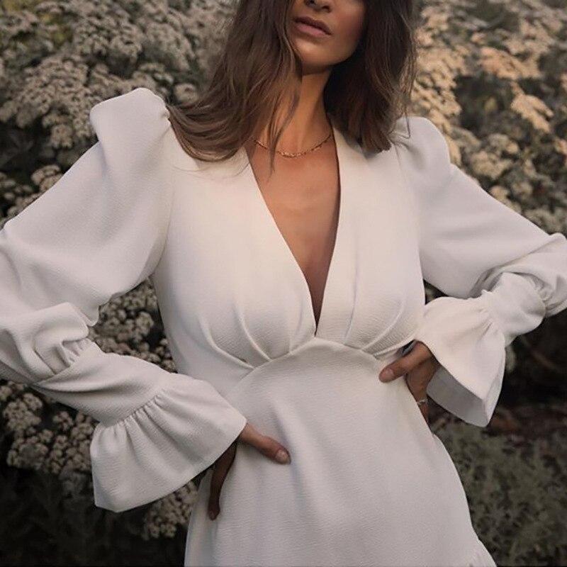 Bonne qualité Egant blanc blazer robe femmes sexy bureau été robe décontracté printemps v-cou à manches longues mini robe BKZ-87