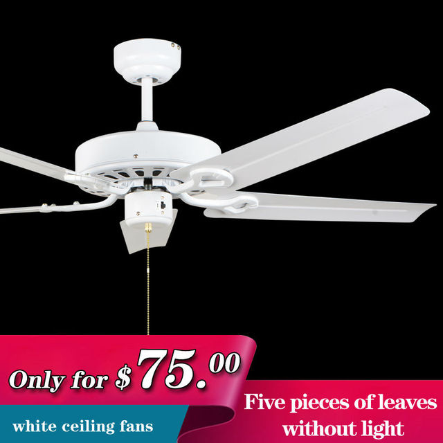 Modern Ceiling Fan For Living Room With No Light Leaves White Iron Electric 220V Dining