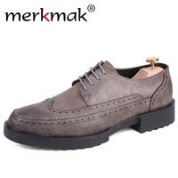 Merkmak Classic Luxury Brand Mens Dress Shoes High Quality Casual Business Office Wedding Leahter Shoes Thick
