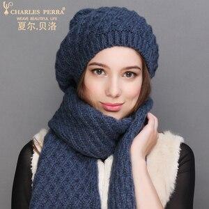 Image 4 - Charles Perra kobiety kapelusz szalik zestawy jesień zima nowy dzianiny kapelusze moda elegancki Casual ciepły Beret styl kobiet czapki 2321