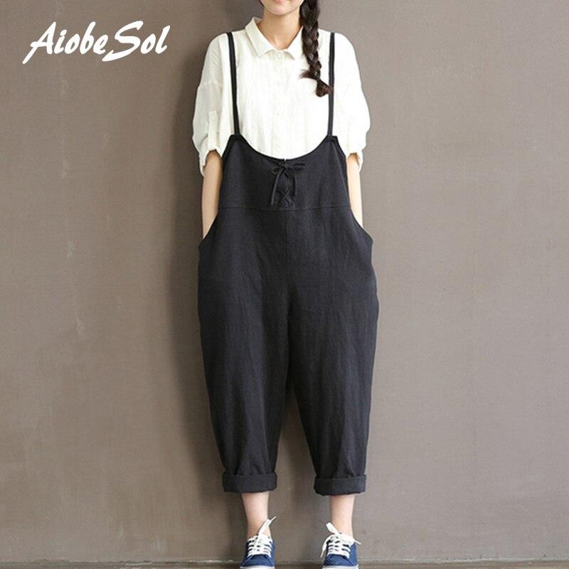 Women wide leg pants femme mori girl preppy style loose waist spaghetti strap pockets jumpsuits cotton