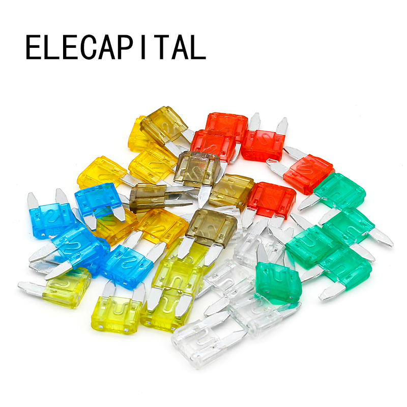 35pcs MIXED Mini Blade Fuse AUTO Car 5 7.5 10 15 20 25 30 AMP 40a blade contact fuse link base holder nt00 500v 120ka 660v 50ka