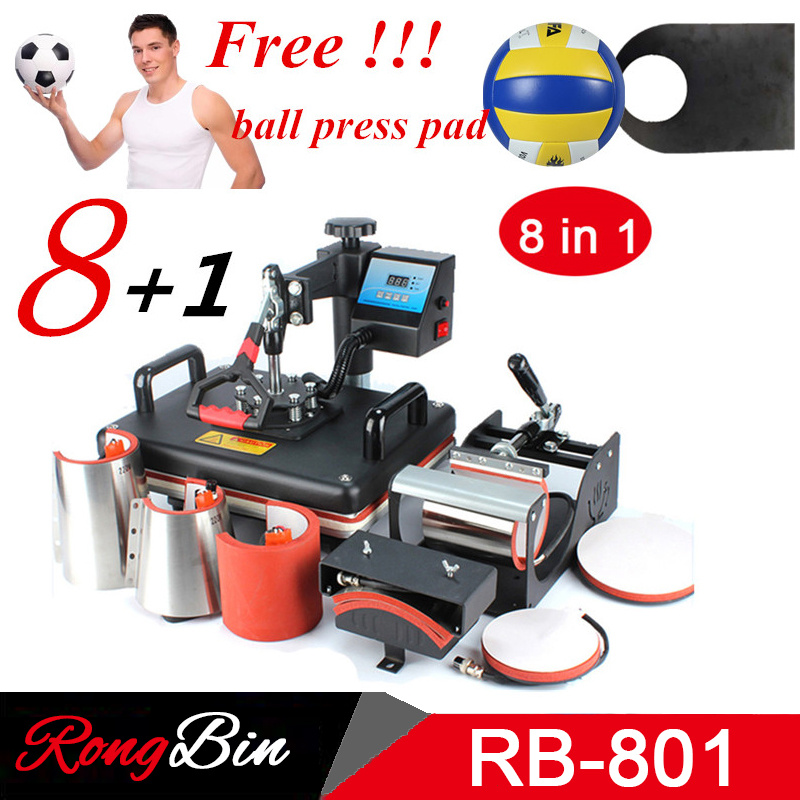 Cheap 8 in 1 Combo Heat Press Machine Sublimation Printer 2D Heat Transfer Machine For Tshirts Mug Plate Cap Phone Case Football