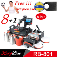 Cheap 8 in 1 Combo Heat Press Machine Sublimation Printer 2D Heat Transfer Machine For Tshirts Mug Plate Cap Phone Case Football
