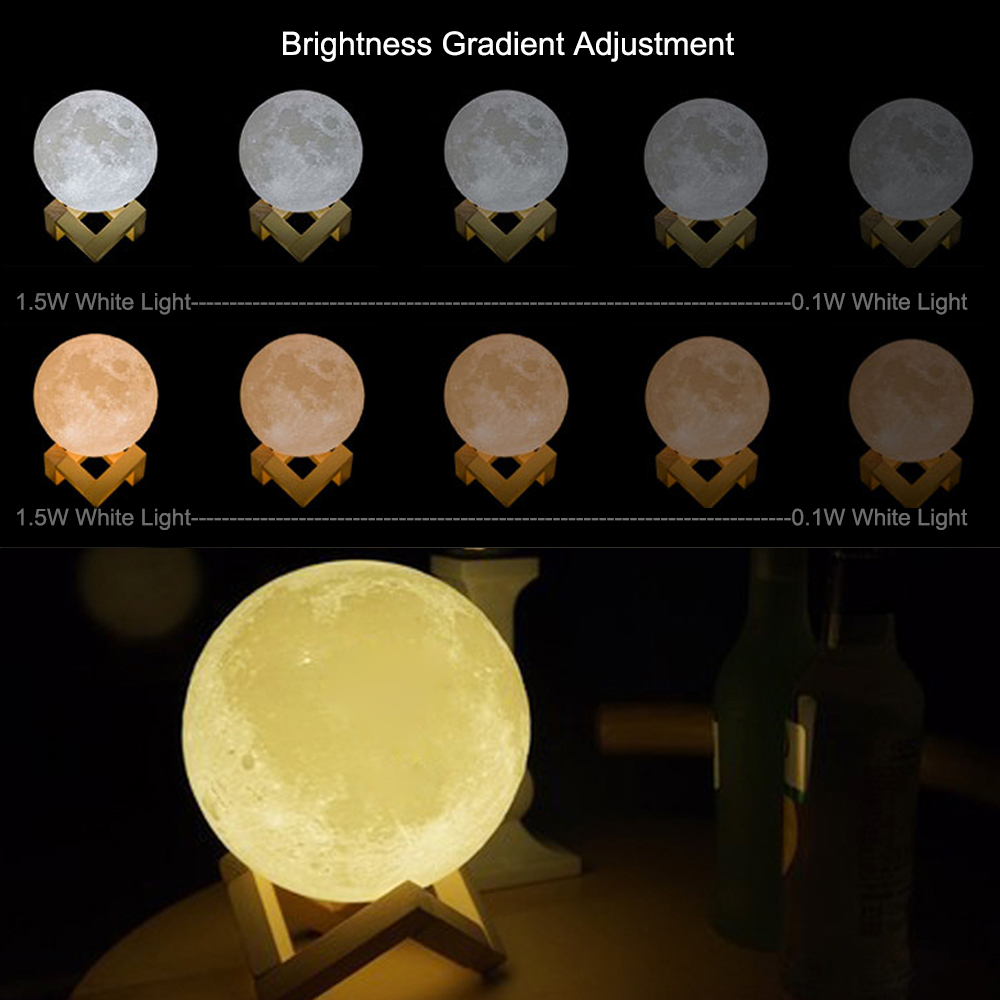 Rechargeable Moon Lamp 3D Touch Control Brightness Light 5