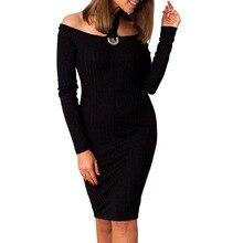 Nibesser Сексуальная с плеча слэш Средства ухода за кожей Шеи вязаное платье Для женщин с длинным рукавом выдалбливают Платья для женщин Мода Холтер Твердые Bodycon Vestidos