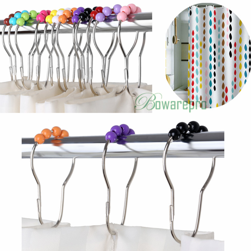 bowarepro 12pcs Bath Curtain Rollerball Shower Curtain Glide Rings Hooks 5 Roller Ball Curtain Accessories 7*4CM Stainless SteeL bath decor bear animal fabric shower curtain