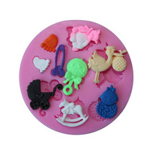 TTLIFE Baby Series Animal Shaped Silicone Mold Stroller Chocolate Bakeware Mould Soap Fondant Cake DIY Decorating Tool