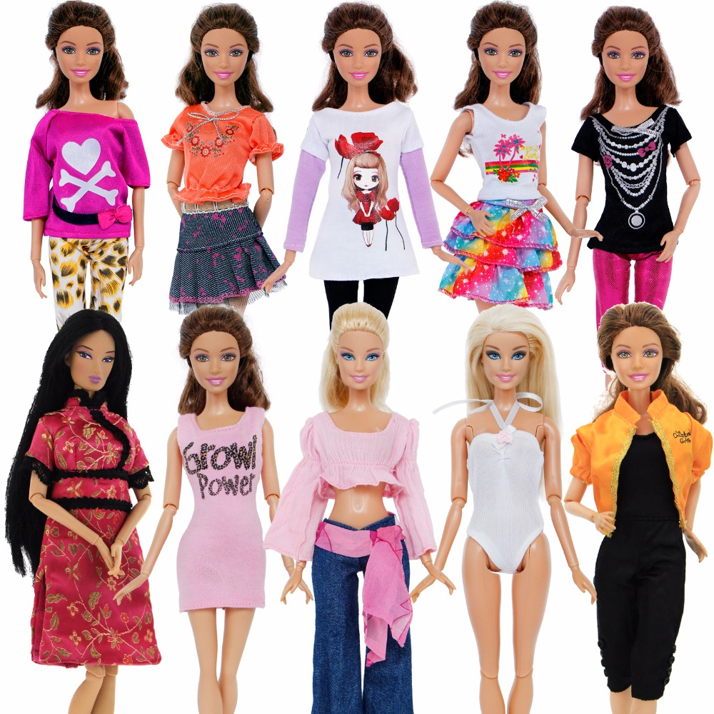 5 Set Handmade Fashion Outfit Daily Casual Wear Blouse Shirt Vest Bottom Pants Skirt Clothes For Barbie Doll Accessories Gift(China)