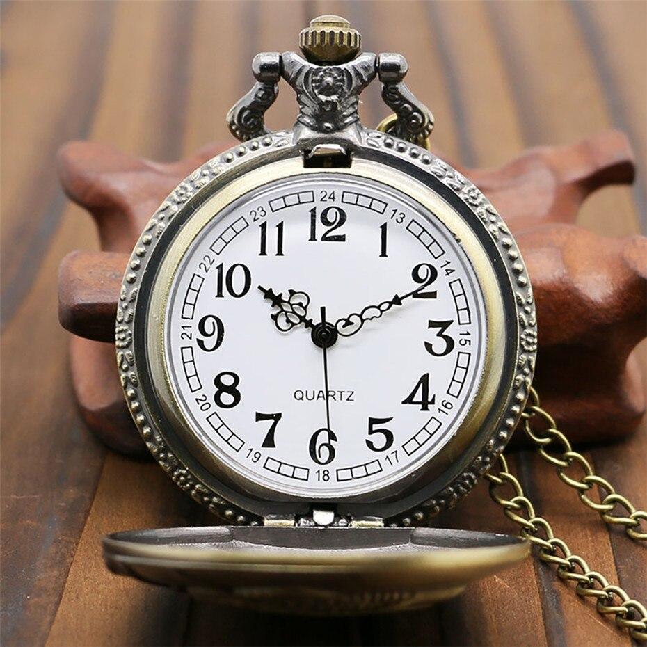 Quartzo Analógico Relógio de Bolso de Bronze
