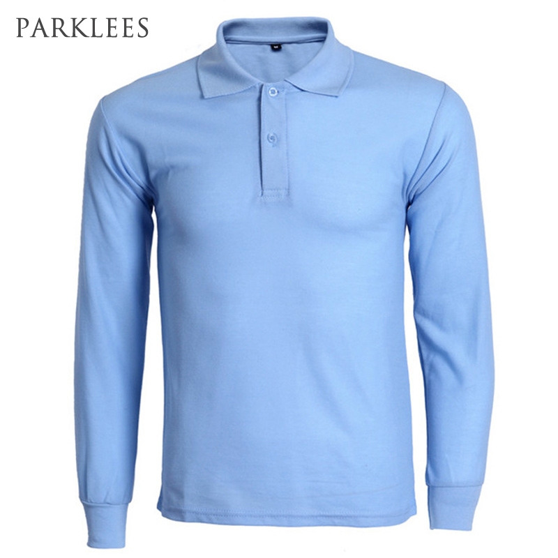 New Sky Blue Polo Shirt Men 2016 Mens Fashion Solid Color Long ...