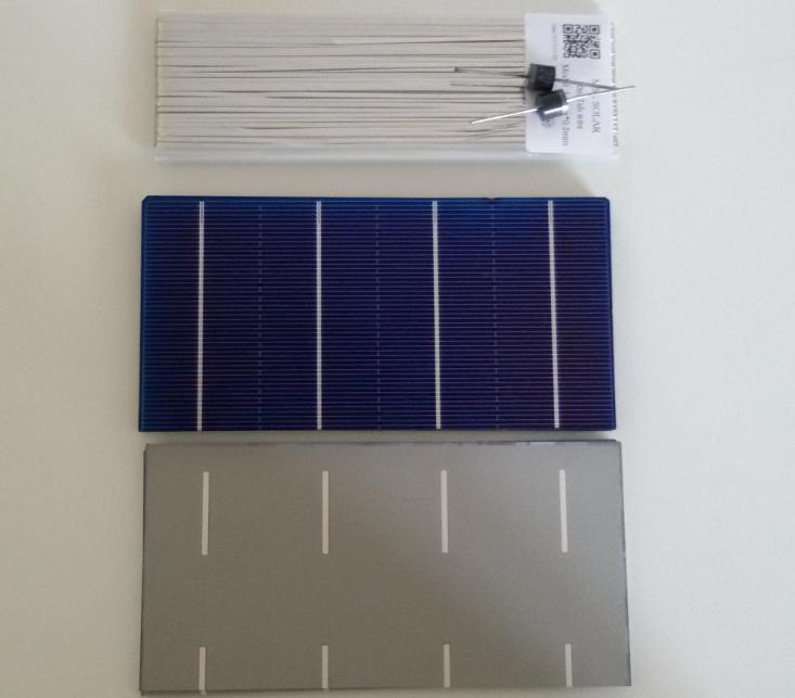 Kit 36pcs 3 x 6 A(-) Grade solar Panel cells + Tabbing WIRE + Diodes. 2W/piece 0.5V for diy solar panel.Free shipping