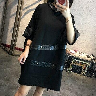 Women Sheepskin Stitching Leather Dress