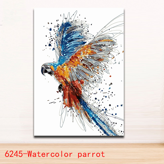 Mewarnai Dengan Angka Cat Air Hewan Burung Beo Gambar Lukisan Burung