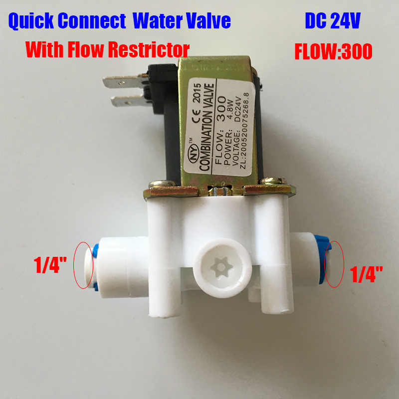 water filter Quick Connect electronic Water Valve 24V DC 1/4 Inlet Feed With Flow 300cc  restrictor  FOR Reverse Osmosis System 2 pcs water filter parts 1 4 tank ball valve for tube quick connect switch water purifier ro reverse osmosis system