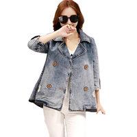 Nieuwe Collectie Denim Jasje Vrouwen 2017 Mode Herfst Breasted Basic Uitloper Vrouwen Plus Size Poncho Jeans Jas Tops