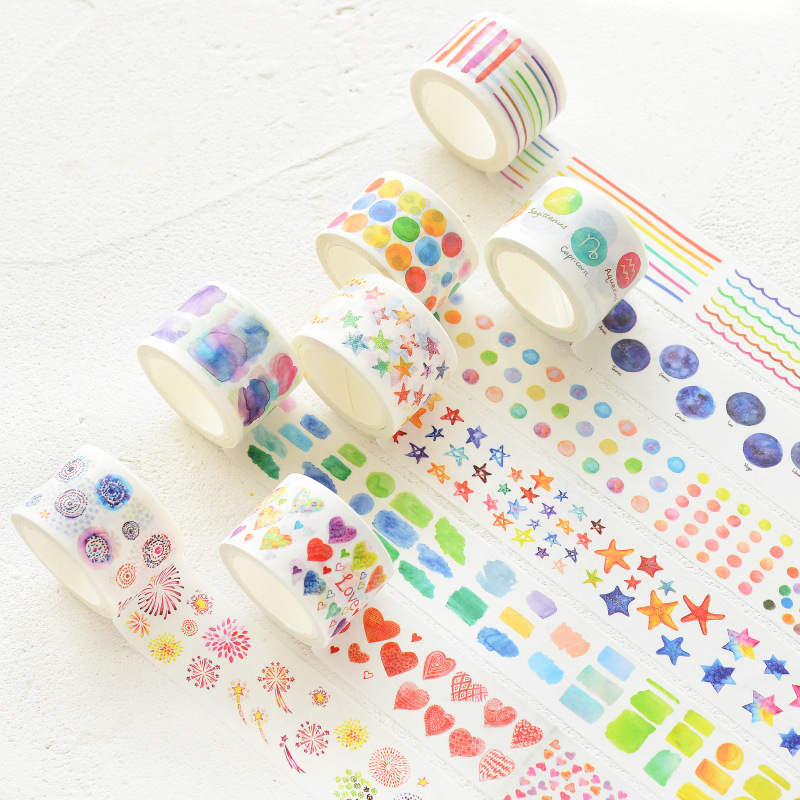 Watercolor Painting Washi Tape Decorative Sticky Paper Masking Adhesive Tape Scrapbooking DIY