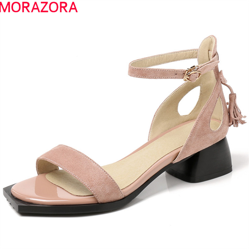 MORAZORA 2018 new arrival women sandals fashion flock summer shoes big size 33-43 solid casual shoes high heel ladies shoesMORAZORA 2018 new arrival women sandals fashion flock summer shoes big size 33-43 solid casual shoes high heel ladies shoes