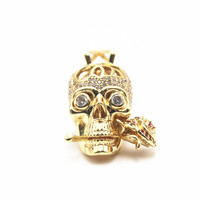 Stainless Steel Gothic Skull Bite Rose Pendants Skeleton Beads For Necklace Jewelry Making 30mm 14mm 17mm