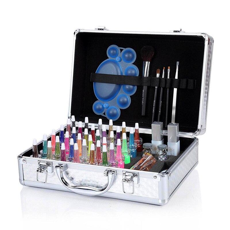 FAMISOO 38 colors Temporary Glitter Tattoo Kit Diamond Powder Professional Body Painting set body art supply Brush white gel