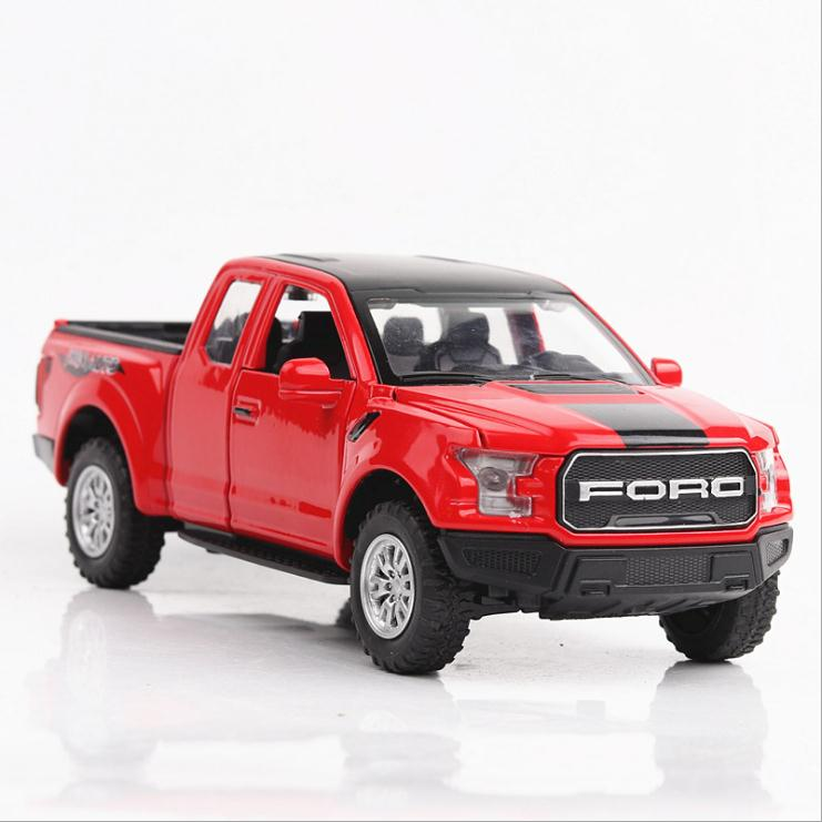 1:32 Scale Alloy Pull Back Car Toys,high Simulation Ford Raptor F150 Pickup,musical & Flashing Toy Vehicles,free Shipping