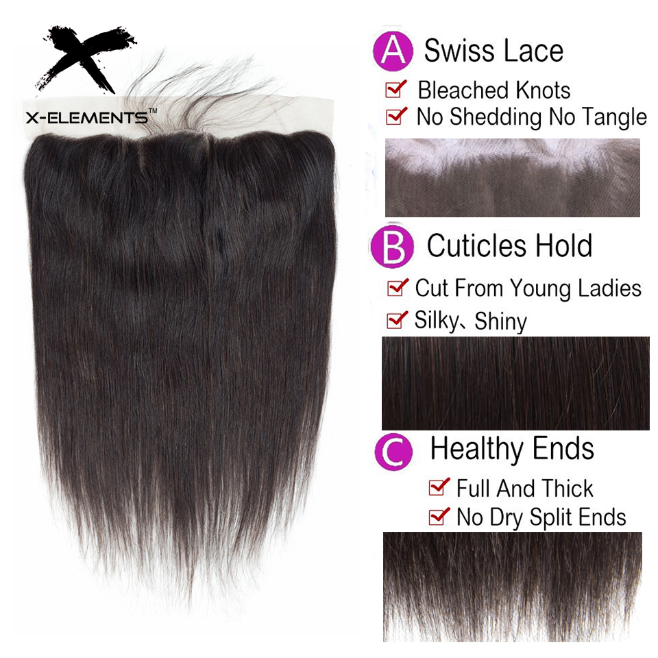 X-Elements Brazilian Straight Frontal 100% Human Hair 13x4 Lace Frontal With Baby Hair Non-Remy Natural Color Hair Extensions (17)