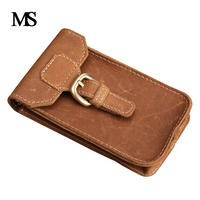 Crazy Horse Leather Waist Pack Male Genuine Leather Cowhide Handmade Casual Bag For Mobile Phone TW1615