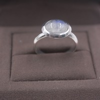 Pure S925 Silver &Moonstone Ring Elegant Woman Ring US 7 Smooth Round 12mmW US 5 9 Elegant Fashion New Ring