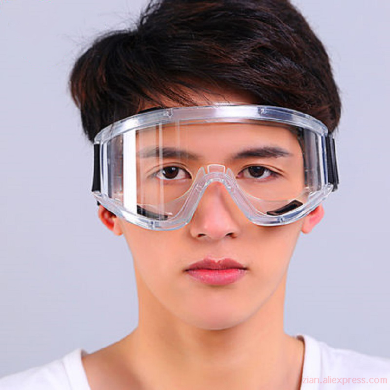 HD Anti-fog Silicone Goggles Anti-shock Dust-proof Motorcycle Riding Sand-proof Transparent Thick Laboratory Protective Glasses