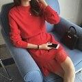 Пятно новая зима 2016 хан издание шею длинным рукавом подол кружева шить ложным два вязать платье 8254