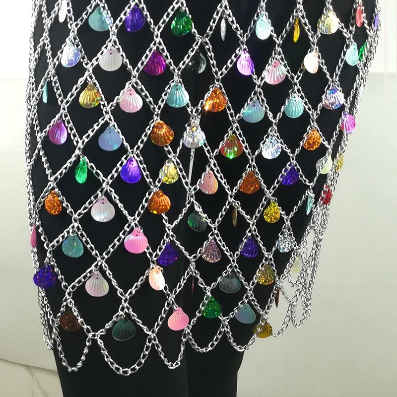 Sexy club Skirt Metal Chain Glitter shell Skirt Women High Waist Hollow Out Sequin Mini Party Skirt Female 2019 Festive costume