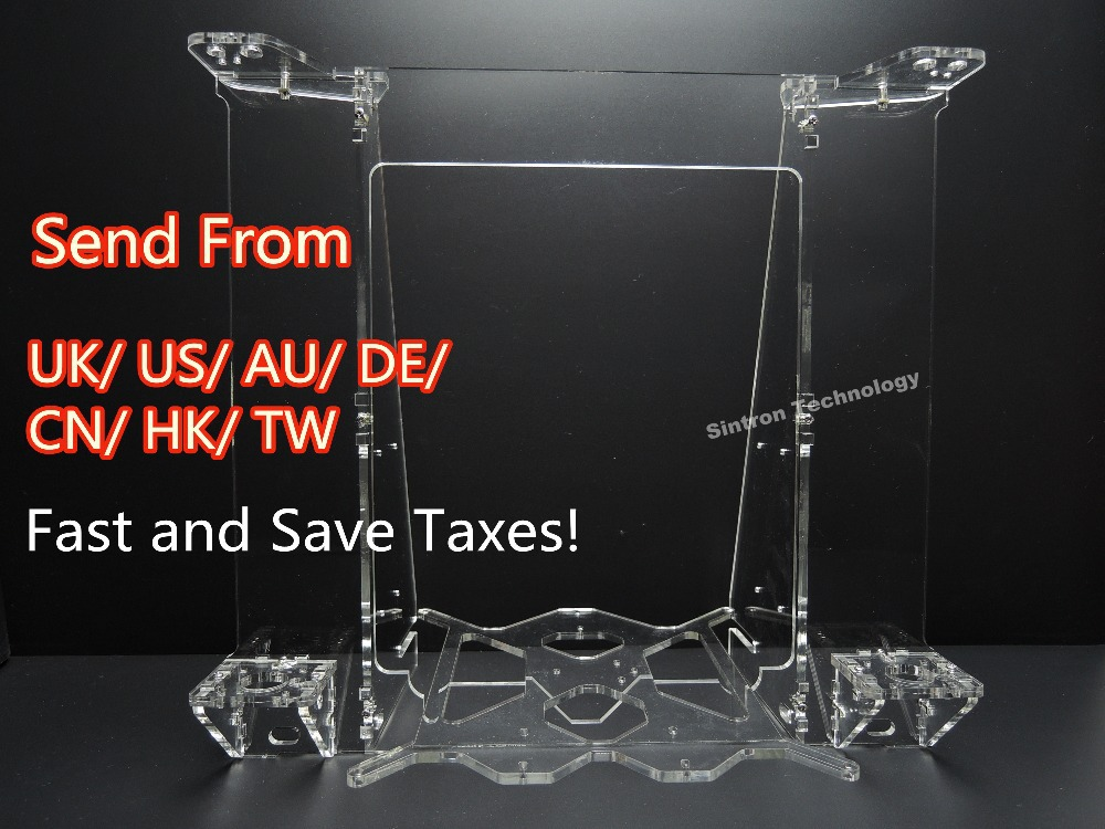 [Sintron] RepRap Prusa Mendel i3 3D Printer Laser Cut Transparent Acrylic Sheet Frame Kit 5mm Thickness,Free Shipping